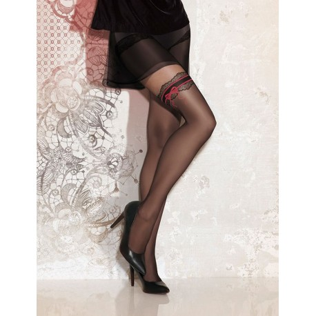 Sheer Black Patterned Tights - 20 den - SWEETY 12