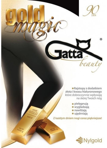 Opaque Tights infused with Gold and Hyaluronic Acid - 90 den - GOLD MAGIC - FINAL SALE - NO RETURNS