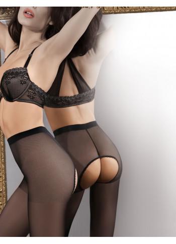 Sheer Black Crotchless Tights - BELLONA 01