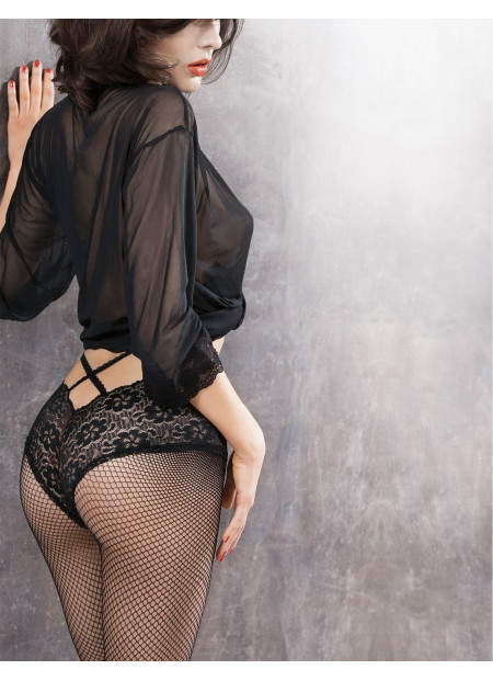 Black Fishnet Tights with Sexy Lace Panty - DIONE 01