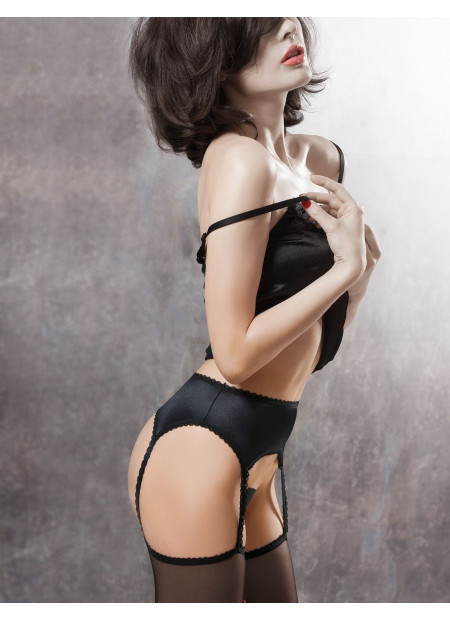 Sheer Black Stockings with Attached Satin Garter Belt - TALIA 01