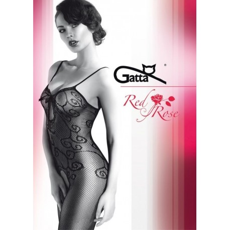 Fishnet Bodystocking with Swirly Details - RED ROSE 05
