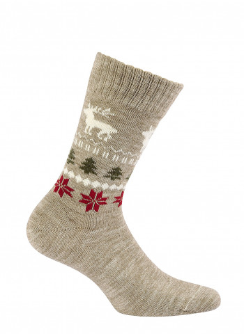 Wool Socks with Winter Pattern - style 998