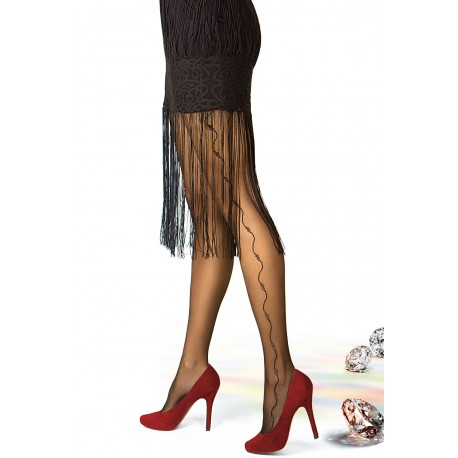 Sheer Black Side Seam Tights with Sparkly Details - 20 den - RONNA 26
