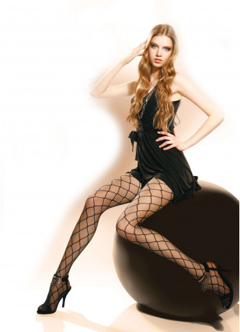 Sheer Black Tights with Diamond Pattern - 20 den - Nadette 01- FINAL SALE - NO RETURNS
