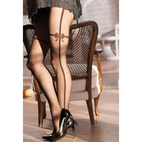 Sheer Black Patterned Tights with Bow Details - 20 den - SWEETY 14 - FINAL SALE - NO RETURNS