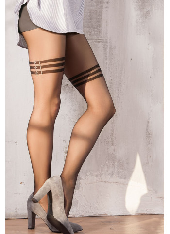 Sheer Black Patterned Tights with Strappy Details - 20 den - SWEETY 15 - FINAL SALE - NO RETURNS
