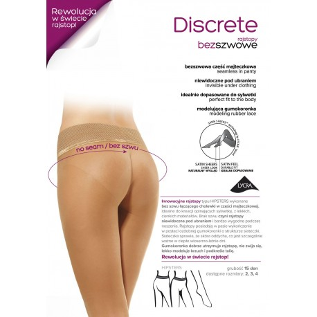 DISCRETE w.01 – Women's tights, seamless brief, 15 DENIER