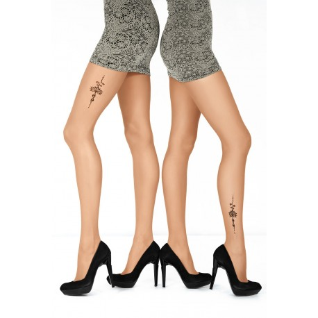 "Sheer Nude Tights with ""Tattoo"" Print - 20 den - ART TATTOO 01"