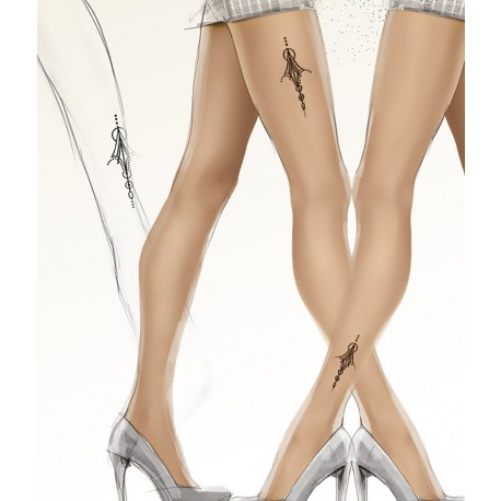 "Sheer Nude Tights with ""Tattoo"" Print - 20 den - ART TATTOO 03"