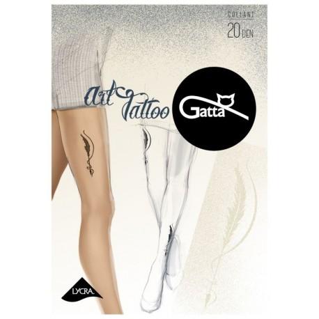 "Sheer Nude Tights with ""Tattoo"" Print - 20 den - ART TATTOO 04"