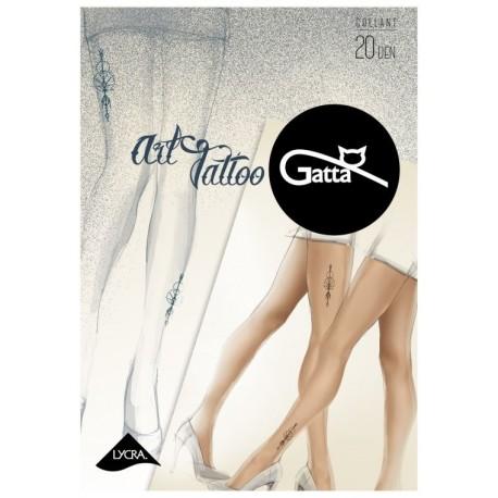 "Sheer Nude Tights with ""Tattoo"" Print - 20 den - ART TATTOO 05"
