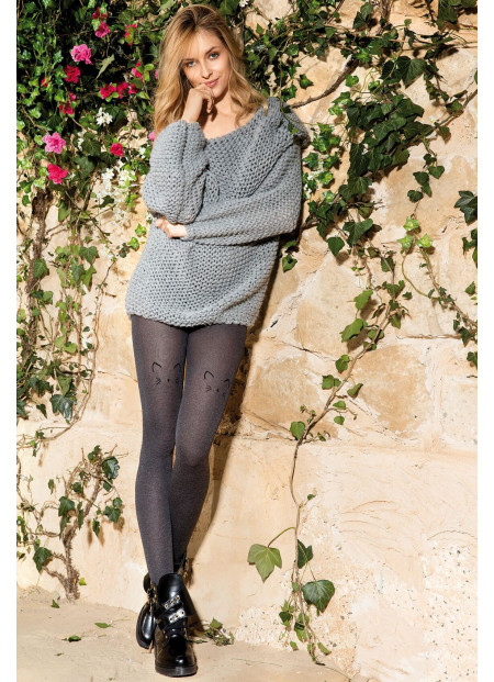 Cat Tights - Opaque Patterned Tights - 60 den - COLETTE CAT 02