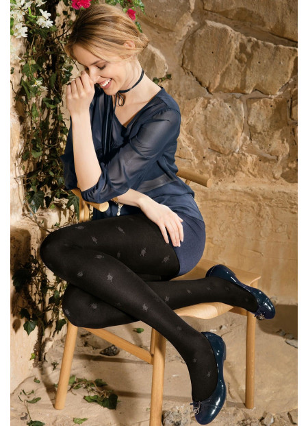 Cat Tights - Opaque Tights with Sheer Cat Details - LORETTA 113