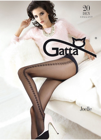 Sheer Black Patterned Tights with Geometric Pattern - 20 den - JOELLE 06- FINAL SALE - NO RETURNS