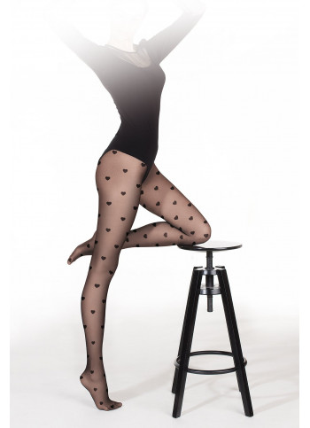 Sheer Black Heart Tights - 20 den - FUNNY 08