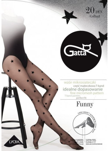 Sheer Black Star Tights - 20 den - FUNNY 06