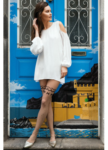 Sheer Patterned Tights with Bow and Dot Print - 20 den - SWEETY 16