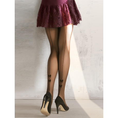 Sheer Black Back Seam Tights with Bow Detail - 20 denier - CHIARA 04