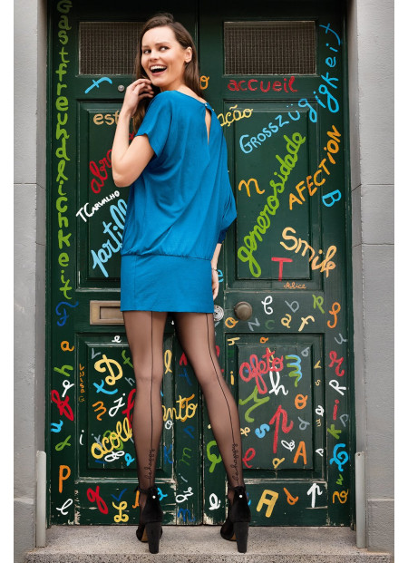 Sheer Black Back Seam Tights with BE HAPPY Message - 20 den - TRISH 25