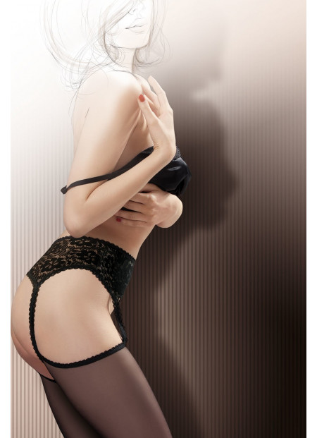 Sheer Black Stockings with Attached Lace Garter Belt – BABETTE 02