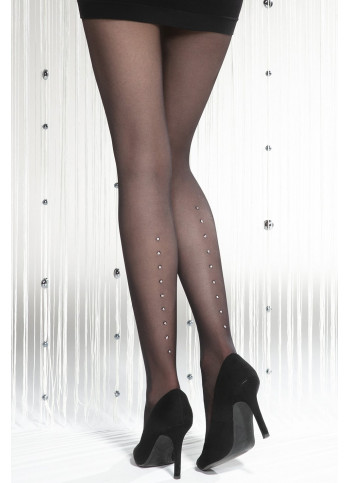 Sheer Black Tights with Sparkling Dot Details – 20 den – SILVER PARTY 08