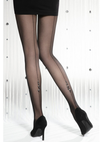 Sheer Black Back Seam Tights with Sparkling Diamond Details – 20 den – SILVER PARTY 09
