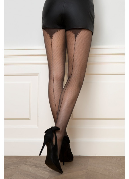 Sheer Black Tights with Light Net Pattern and Dotted Back Seam – 20 den – FANCY 11
