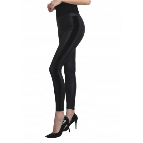 Faux Leather Leggings with Velvet Side Stripes - SAVAGE