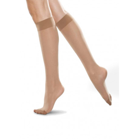 Sheer Lycra Knee Socks with Comfort Top - 15 denier - 2 pack