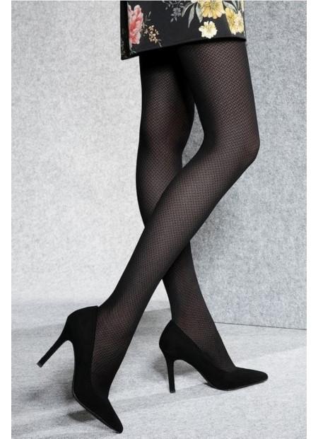 Semi Opaque Black Tights with Fine Herringbone Pattern – 40 den – LORIEN 11