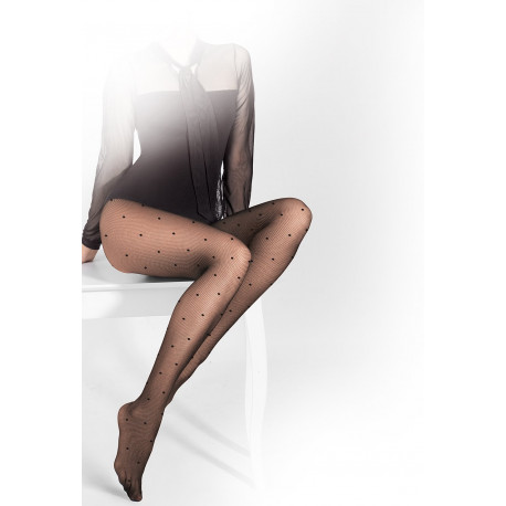 Sheer Black Micromesh Tights with Dot Details - 20 den - FUNNY 05