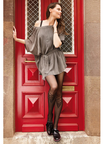Sheer Black Criss Cross Patterned Tights - 20 den - REES 06