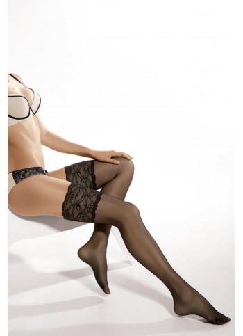 Sheer Thigh High Stockings with Extra-Wide Lace Tops - Michelle 03